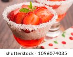 a serving of strawberry over... | Shutterstock . vector #1096074035