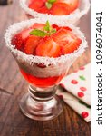a serving of strawberry over... | Shutterstock . vector #1096074041