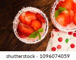 a serving of strawberry over... | Shutterstock . vector #1096074059