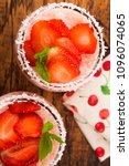 a serving of strawberry over... | Shutterstock . vector #1096074065