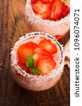 a serving of strawberry over... | Shutterstock . vector #1096074071