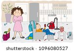 angry mother looking at the... | Shutterstock .eps vector #1096080527