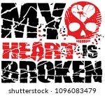 skull with heart  grunge...   Shutterstock .eps vector #1096083479
