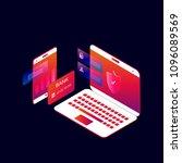 online mobile payment 3d... | Shutterstock .eps vector #1096089569