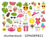 summer set with hand drawn... | Shutterstock .eps vector #1096089821