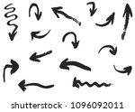 grunge vector arrows. dry hand... | Shutterstock .eps vector #1096092011