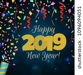 happy new year 2019 greeting... | Shutterstock .eps vector #1096094051