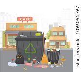 pile of trash. garbage on city... | Shutterstock .eps vector #1096095797