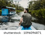 young tourist sailing on a... | Shutterstock . vector #1096096871
