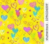 hand drawn multicolored hearts. ...   Shutterstock .eps vector #1096106009