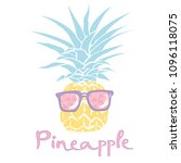 pineapple with glasses tropical ... | Shutterstock .eps vector #1096118075
