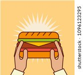 hand holding sandwich fast food ... | Shutterstock .eps vector #1096123295