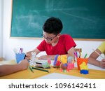 close up asain student in... | Shutterstock . vector #1096142411