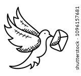 carrier pigeon holding envelope ...