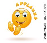 joyful emoticon applauds.... | Shutterstock .eps vector #1096158041