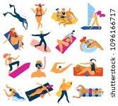 sea activities set with diving... | Shutterstock .eps vector #1096166717