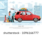 young family with kids packing... | Shutterstock .eps vector #1096166777