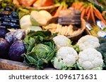 fresh bio vegetables on farmer... | Shutterstock . vector #1096171631
