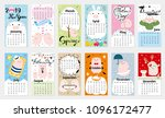 cute calendar for 2019 | Shutterstock .eps vector #1096172477