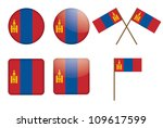 set of badges with flag of...