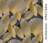 elegant gold exotic leaves... | Shutterstock .eps vector #1096176641