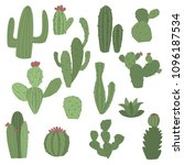 cactus icons in flat handrawn... | Shutterstock .eps vector #1096187534