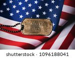 closeup of a rusty dog tag with ... | Shutterstock . vector #1096188041