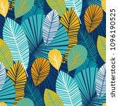 vibrant cool leaves seamless... | Shutterstock .eps vector #1096190525