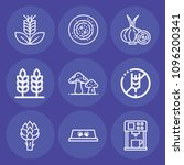 set of 9 food outline icons...