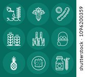 set of 9 food outline icons... | Shutterstock .eps vector #1096200359