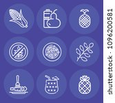 set of 9 food outline icons... | Shutterstock .eps vector #1096200581