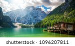 braies lake in dolomites... | Shutterstock . vector #1096207811