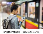 young woman using mobile phone... | Shutterstock . vector #1096218641