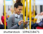 young woman using mobile phone... | Shutterstock . vector #1096218671