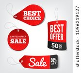 vector set of red sale tags.... | Shutterstock .eps vector #1096219127