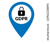 gdpr and map pointer. vector... | Shutterstock .eps vector #1096220894