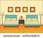 bedroom interior with two beds. ... | Shutterstock .eps vector #1096230815