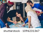 diverse group of young people... | Shutterstock . vector #1096231367