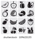 black icon fruit vector set