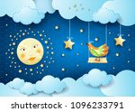 surreal night with clouds ... | Shutterstock .eps vector #1096233791
