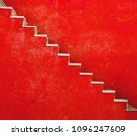 Small photo of Red wall with stairs texture background, minimalistic style for base image for posters, banners or covers, trivial design and simplicity is a trendy key for graphic arts, acid psychedelic color