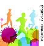 runners abstract color splash...   Shutterstock .eps vector #109625321