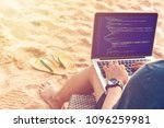 a male programmer typing source ... | Shutterstock . vector #1096259981
