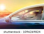 younger woman driving passenger ... | Shutterstock . vector #1096269824