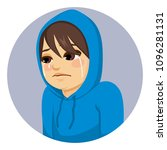 crying sad teenager boy with... | Shutterstock .eps vector #1096281131