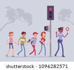 safe road crossing. policewoman ... | Shutterstock .eps vector #1096282571