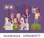 hang out party. group of young... | Shutterstock .eps vector #1096282577