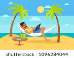 man lying on hammock with... | Shutterstock .eps vector #1096284044
