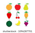 fruits icon set.  | Shutterstock .eps vector #1096287701