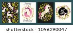 unicorn head in wreath of... | Shutterstock .eps vector #1096290047